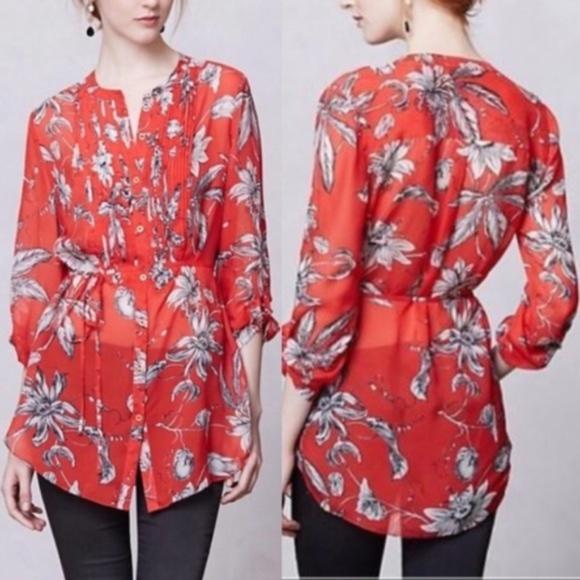 e19501b3731822 ... Anthropologie Tops Leifsdottir Red Cattleya Floral Silk Blouse